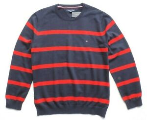 Tommy Hilfiger Men's Crew Neck Striped Sweater, Red/Navy Blue, Size: XXL
