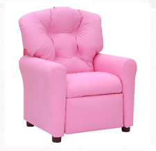 Traditional Kids Microfiber Push Back Reclinable Chair Crew Furniture Cute Pink