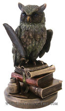 """Owl ~ Horned Eagle Owl Statue ~ 9"""" Tall Cold Cast Bronze ~ Wisdom & Knowledge"""