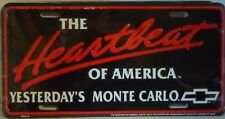 THE HEARTBEAT OF AMERICA YESTERDAY'S MONTE CARLO ALUM LICENSE PLATE CHEVROLET SS