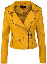 Ladies Biker Faux Leather Jacket Women's between Season D-286 36-42
