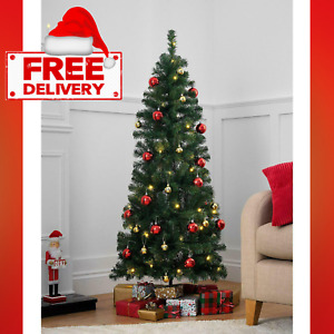 5ft Pop-Up Pre-Lit LED Christmas Tree - Red and Gold Baubles-Magical Setting