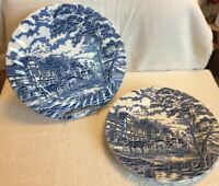 "VTG MYOTT ROYAL MAIL Staffordshire ware Blue& White  Dinner Plates 9 3/4"" Set 2"