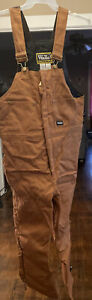 Walls Work Wear Mens Brown Canvas Insulated Bib Overall-Large