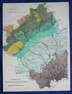 Original antique GEOLOGICAL MAP, MIDDLESEX, HERTFORDSHIRE, Reynolds, 1864-89