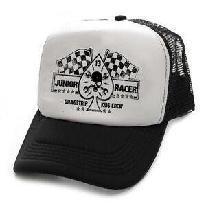 Dragstrip Clothing Kids Junior Racer black and white Racing Flags trucker cap