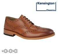 MENS Wing Capped Gibson BROGUES - Tan Full Leather Shoes - Size 6 7 8 9 10 11 12