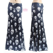 Skull Halloween Black heart Sublimation long maxi skirt (S/M/L/XL/1XL/2XL/3XL)