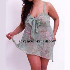 New PLUS SIZE 2pc Rainbow Green Chiffon Clothing panty LINGERIE 1X 2X 3X T5538