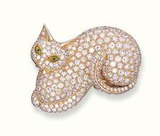 5.20ct NATURAL ROUND DIAMOND ENAMEL 14K YELLOW GOLD ANNIVERSARY CAT BROOCH