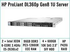 Hp ProLiant Dl360p Gen8 2×E5-2630Lv2 Xeon 6-Core 2.4Ghz + 96Gb Ram + 4×600Gb Sas
