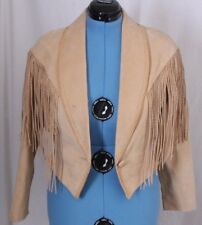 Cripple Creek Fringe Leather Buck Stitched Button Western Crop Jacket Women's S