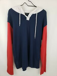 New NWT Men's Burnside Red White & Blue Pullover Hoodie Shirt Size Large