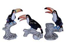 Miniatures en porcelaine _ TOUCANS SUR BRANCHES 6 à 8,5cm _ Série complète 3pcs