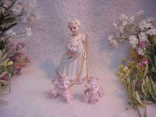 Vintage Young Girl Walking Her Two Little Pink Poodles~So Pretty!