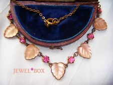 ART DECO Czech VAUXHALL GLASS  Leaves Pink Crystal Paste Vintage Bridal NECKLACE