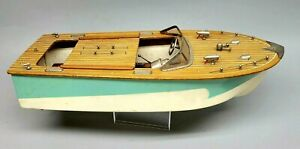 Vintage Fleet Line Speedboats The Sea Wolf Battery Powered Wooden Toy Boat RUNS!