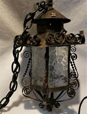 Vintage Gothic Spanish Revival Wrought Iron Electric Hanging Lantern Lamp Light