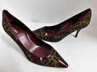 New Fendi Brown FF Zucca Canvas Burgundy Patent Leather Pointy Pump Heels 41