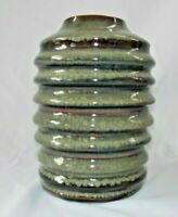 "Studio Art Pottery Vase Greens and Browns 6"" x 4"" Handcrafted Signed"
