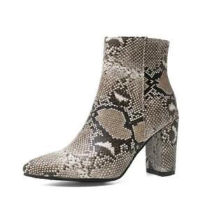 Women Western Snakeskin Print Chelsea Pointy Toe Chunky 8.5cm Heel Ankle Boots L