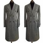 Men's Houndstooth Wool Long Jacket Blazer Double-breasted Peak Lapel Overcoat