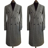 Men's Houndstooth Wool Long Jacket Blazer Double-breasted Peak Lapel Overcoat