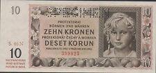 BOhemia & Moravia  10 Korun  8.7.1942 P 8s Specimen  Uncirculated Banknote