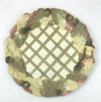 "Indigo Gate Silvestri 12"" Dinner Plate Dish Leaf Fall Autumn Acorn Lattice Green"