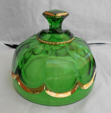 RIVERSIDE EMPRESS GOLD GREEN BUTTER DISH LID EAPG VICTIORIAN 1898 PRESSED GLASS