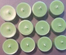 12  Light Green Soy Wax Unscented Tea Light Candles
