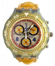 Swatch Orange Dial Orange Leather Strap Chronograph Unisex Watch 43mm