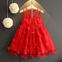 Toddler Kids Baby Girls Lace Floral Princess Party Pageant Ball Tulle Tutu Dress