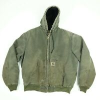 Destroyed Carhartt Hooded Jacket LARGE Faded Distressed Greenish Gray Grunge