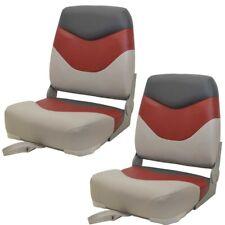 Premium Boat Folding Fishing Seats 75128GRC | Gray Red Charcoal (Pair)