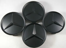 4x MERCEDES BENZ WHEEL CENTER CAPS MATTE BLACK RIM HUBCAPS EMBLEM 75mm 2.95""