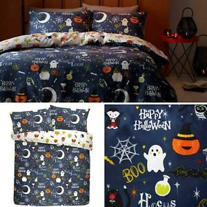 Happy Halloween Duvet Covers Glow in the Dark Reversible Easy Care Bedding Sets
