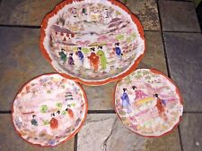 Rice Bowl Saucer Berry Bowl RED GEISHA IN GARDEN Bowl Hand Painted ▬ SET ❤️m17