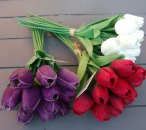 Artificial Tulips - Real Touch - 12 Stems - Many Colours