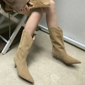Womens Suede Pointed Toe Med Heels Mid Calf Riding Boots Western Fashion Shoes