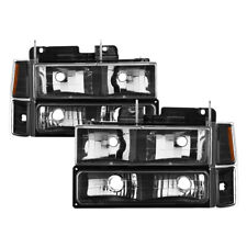 94-98 Chevy Pickup Truck Tahoe Suburban Black Headlight Bumper Corner Lights Set