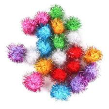 21pcs Cat Kitten Hamster Parrot Soft Glitter Tinsel Pompom Balls Pet Toys 3.5cm