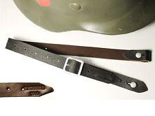 """JUGULAIRE CASQUE ALLEMAND WW2  """"E.KOMMLE 1940"""" cuir brun"""