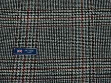 100% Lana Tweed Tela, Blanco/Azul marino oscuro/rojo Check Tweed-hecho En Inglaterra