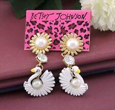 E543 BETSEY JOHNSON WHITE SWAN Sun Flower Ball Drop Pearl Earrings UK