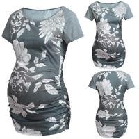 Women Baseball Crew Neck Raglan Short Sleeve Side Ruched Maternity T-Shirts Tops