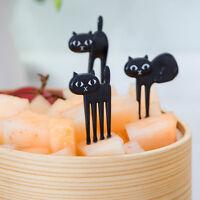 6Pcs Mini Animal Fork Fruit Picks Cute Cartoon Cat  Fork Bento Lunch Box Deco LJ