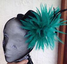 green feather black mini top hat fascinator headpiece fancy dress hair clip