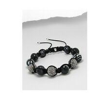 Black Gray Marbled Agate Clear Crystal Bead Fashion Adjustable Bracelet