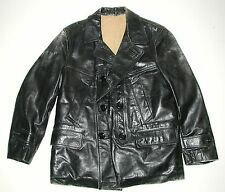 Vintage Men's Black Leather Motorcycle Biker Car Coat Jacket